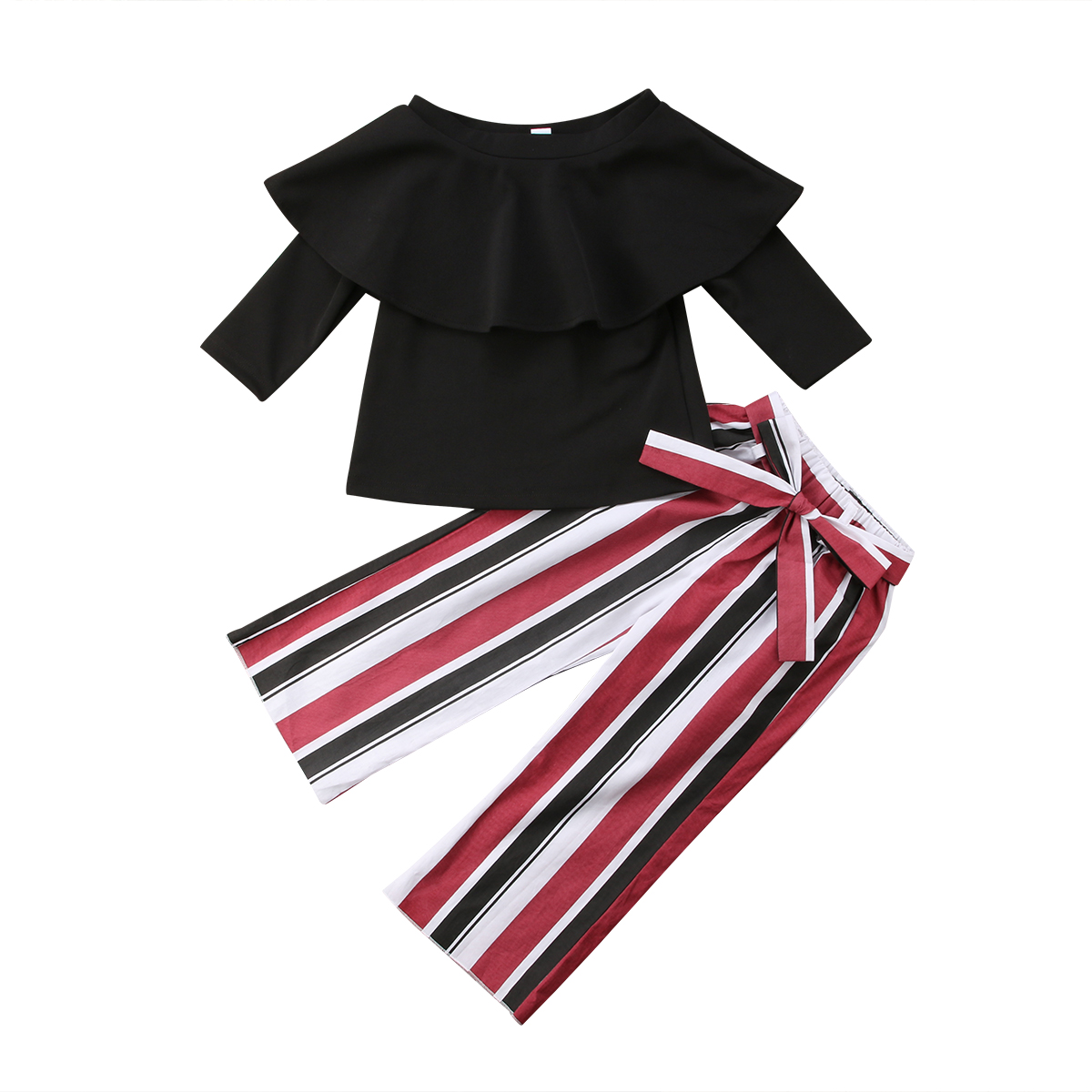 2Pcs Toddler Baby Kids Girls Off Shoulder Tops+Striped Pants Set Outfits Clothes
