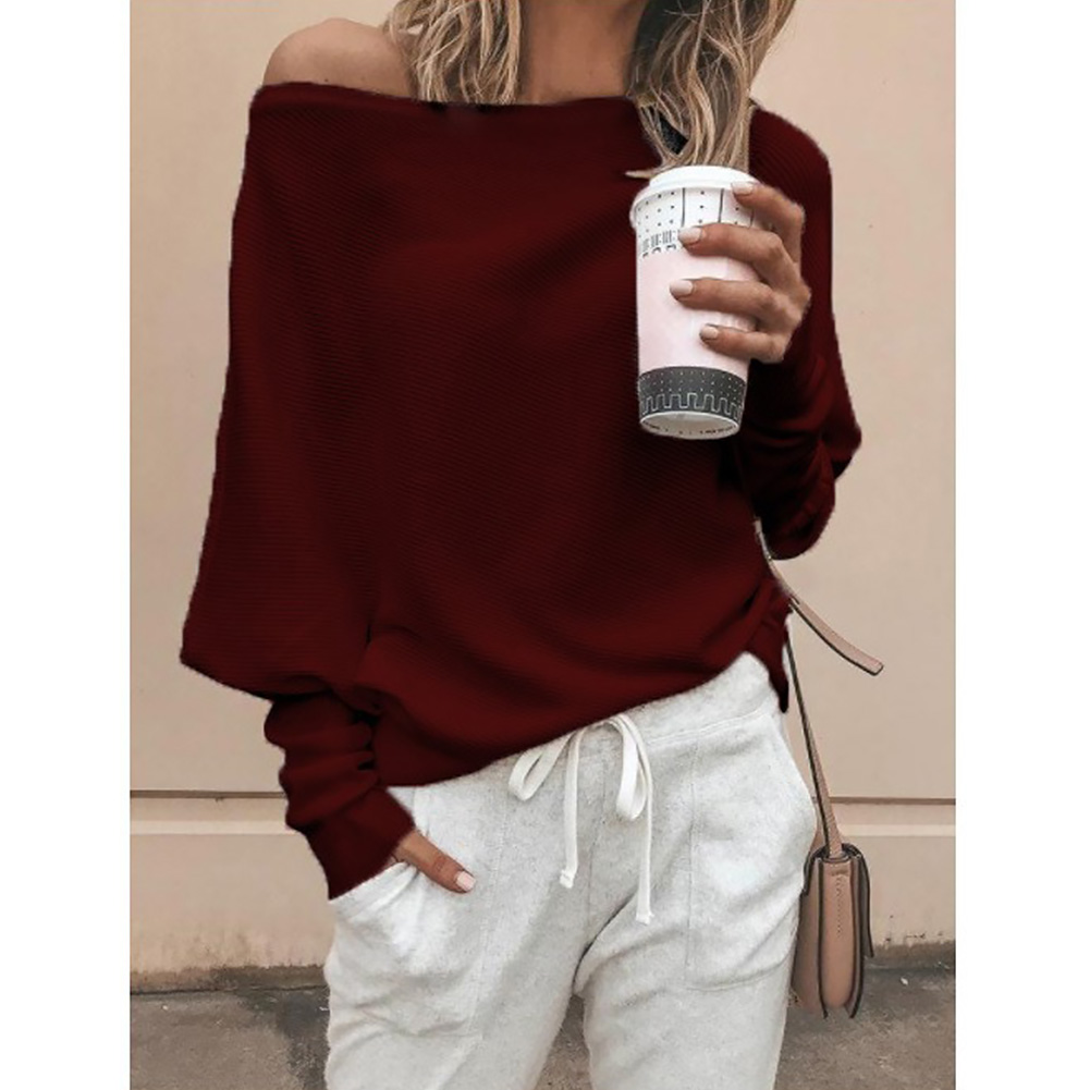 Gift Solid Long Sleeve Pullover Women Sweater Breathable Casual Tops Soft Cotton Blend Loose Sexy One Shoulder Autumn