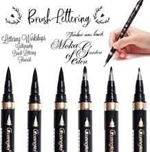 Juego de bolígrafos de caligrafía para principiantes, rotuladores de pincel negro rellenables para escritura, letras y firma, 6 uds.
