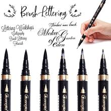 Calligraphy Pens - 6pcs Calligraphy Set for Beginners Refillable Black Brush Marker Pens for Writing, Lettering,Signature
