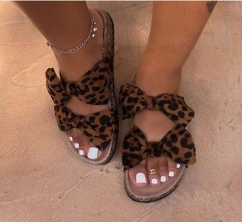 2019 yaz kadın sandalet kelebek-düğüm dış terlik leopar baskı Slip-on bayanlar sevimli düz sıcak 9057