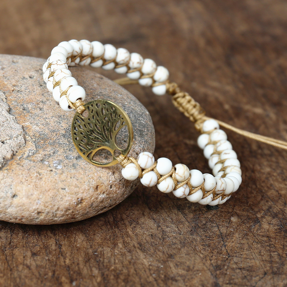 Handmade Jewelry Stainless Steel Tree of Life Braided Bracelet Women Men Bohemia Yoga String Braided Wrap Bracelet