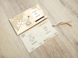 Высокое качество 50 шт./лот свадебные пригласительные карты карман/мешочек и карточка с текстом авиабилета приглашения на заказ