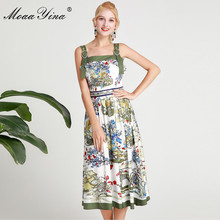 MoaaYina Fashion Designer Runway dress Spring Summer Women Dress Spaghetti Strap Backless Print Vacation Dresses все цены