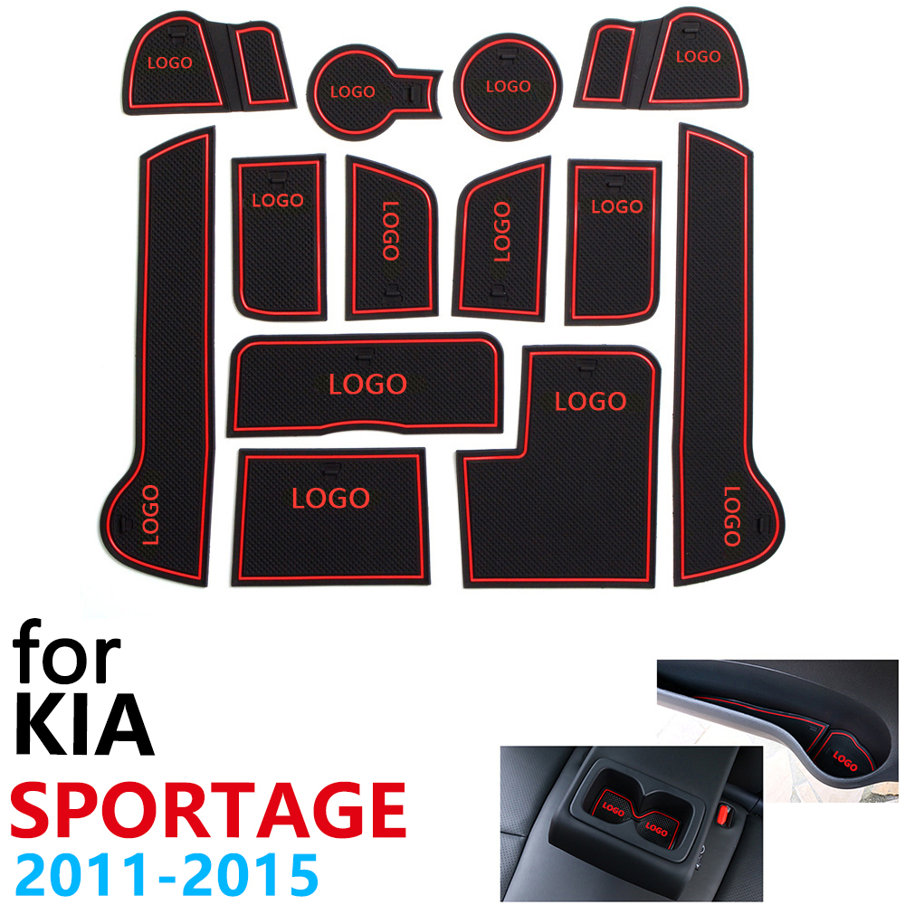 Anti-Slip Rubber Cup Cushion Door Groove Mat For KIA Sportage MK3 SL R 2011~2015 2012 2013 2014 13Pcs Accessories Mat For Phone