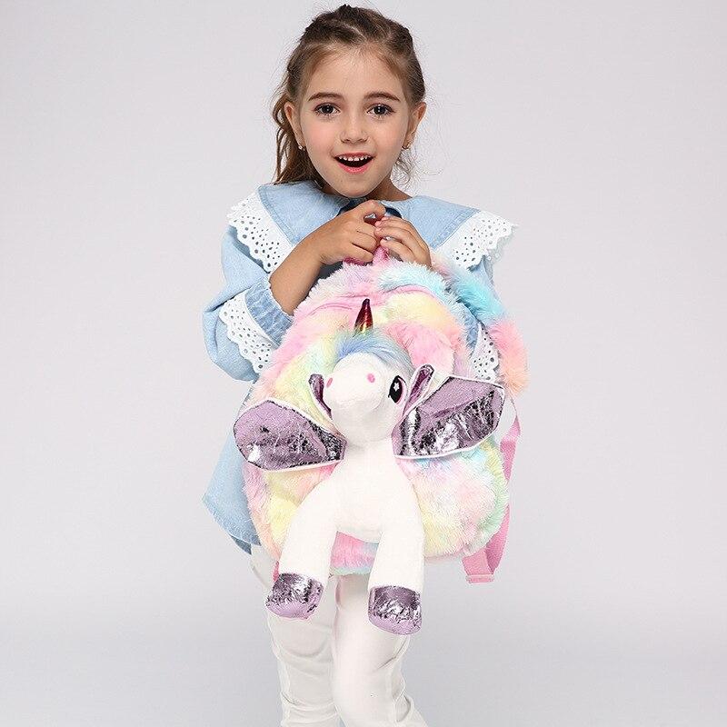 Baby Girl Unicorn Fur Backpack Cute Children Zipper Schoolbag Mini Kid Toy Doll Backpack For Kidergarten New Girl Plush Doll Bag 1