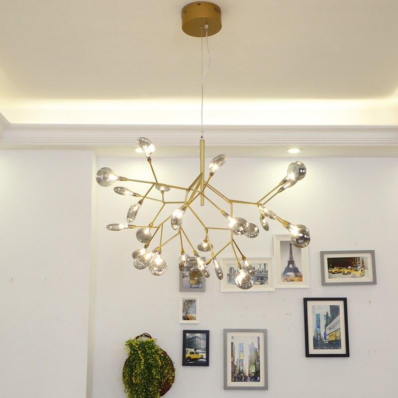 Işıklar ve Aydınlatma'ten Kolye ışıkları'de Modern firefly LED avize ışığı şık ağaç dalı avize lamba dekoratif firefly tavan chandelies asılı aydınlatma title=
