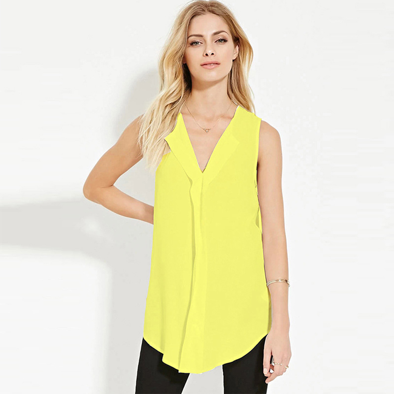 Women Chiffon Blouse Summer Solid Color Sleeveless Top Tees Casual V-neck Shirts New Ladies Long Loose Shirt Plus Size