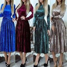 Женские вечерние платья винтажное Плиссированное длинное платье