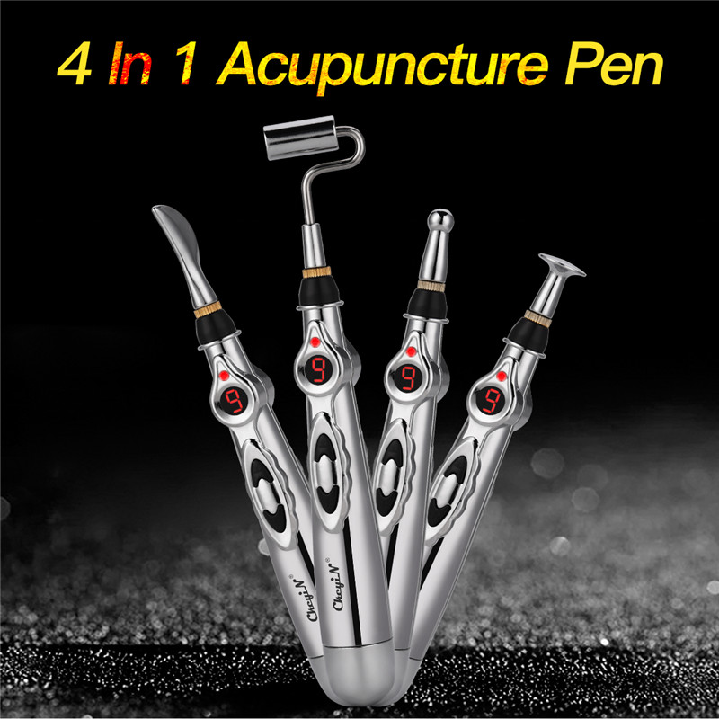 Electric Therapy Pulse Acupuncture Massager Merdian Energy Pen Pain Relief 9 Adjustable Gears Scraping Roller Massage Heads Superior Materials