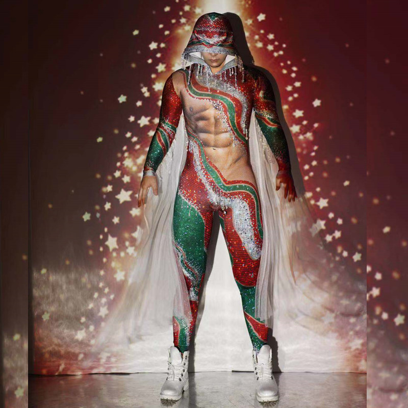 Christmas Party Red Green Tassel Rhinestone Jumpsuit Men Stretch Hooded Stage Bodysuit Nightclub DJ Dancer Performance Costumes