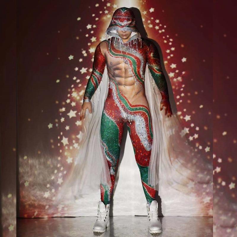 Christmas Party Red Green Tassel Rhinestone Jumpsuit Men Stretch Hooded Stage Bodysuit Nightclub DJ Dancer Performance Costumes