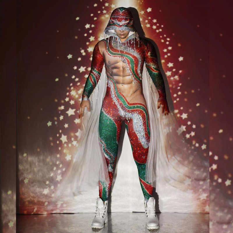 Fête de noël rouge vert gland strass combinaison hommes Stretch à capuche scène body discothèque DJ danseur Performance Costumes