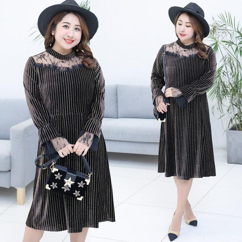 2018 Spring Clothing New Style Large GIRL'S Plus-sized WOMEN'S Dress Korean-style Cover Belly Gold Velvet Dress 1026