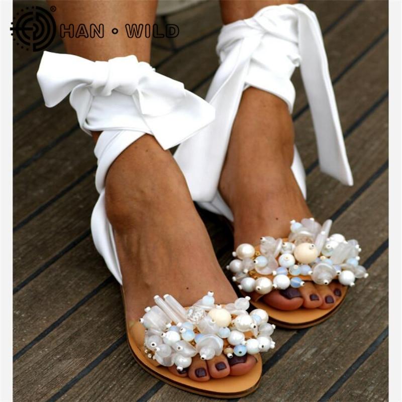 2020 Summer Fashion Women Flat Sandals Ladies Beaded Sandals Ankle Strap Women Beach Shoes Open Toe Female  Handmade Sandal