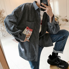 2019Spring And Autumn New Mens Fashion Casual Shirt Solid Color Corduroy Loose Vertical Stripes Long sleeved Jacket Green /Gray