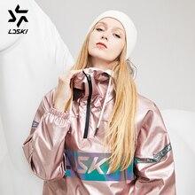 LDSKI Лыжная куртка с блестящими металлическими вставками, худи в уличном стиле, водоотталкивающий пуловер с карманами, куртка для сноубординга