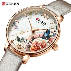 Image 3 - CURREN יפה פרח עיצוב שעונים נשים אופנה מקרית עור שעוני יד גבירותיי שעון נשי שעון נשים של קוורץ שעון