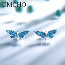 UMCHO Blue Dragonfly Sequins Stud Earrings Real 925 Sterling Silver Jewelry Romantic For Women Cute Birthday Gift