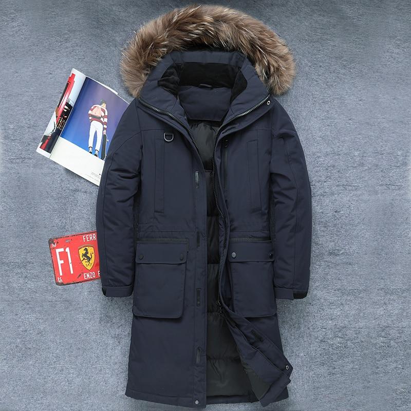 2019 męska grube ciepłe zimowe miękkie płaszcze męskie dół