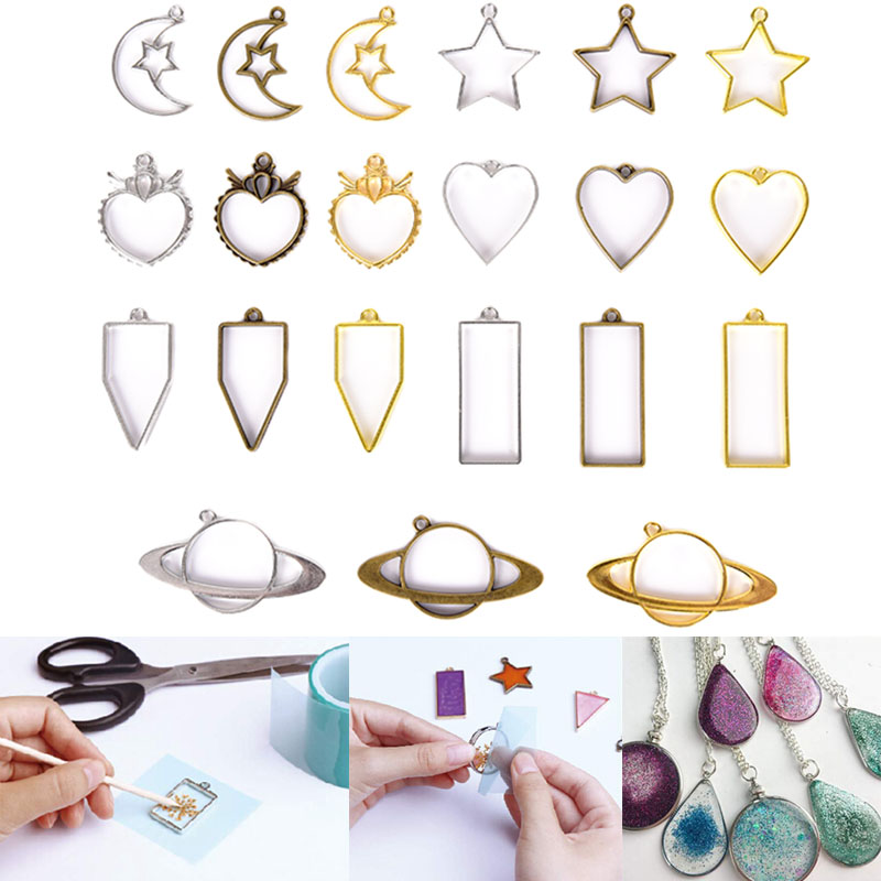 3pcs / 5Pcs Geometric Shape Metal Frame Set DIY Epoxy Resin UV Crystal Silicone Molds Jewelry Pendant Making