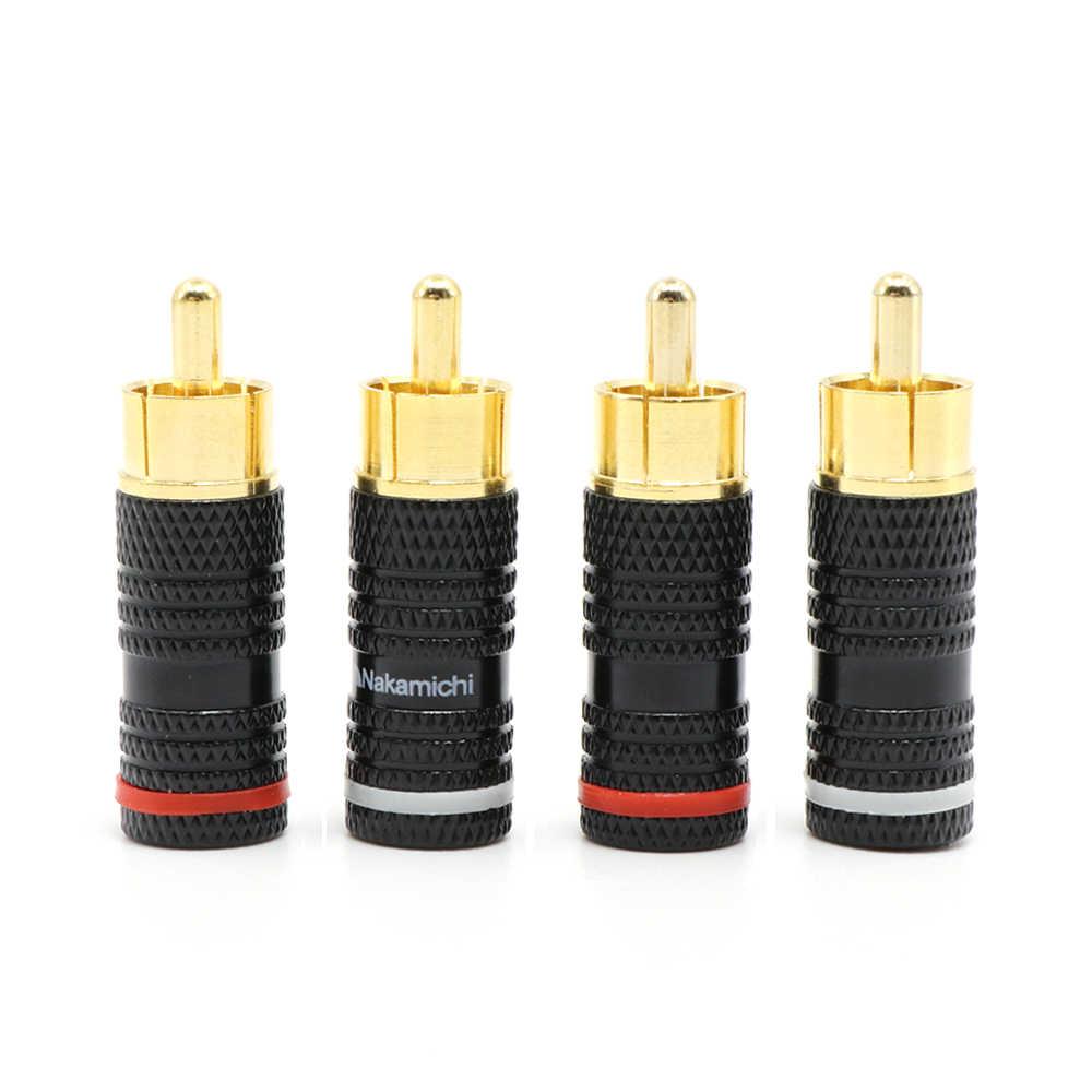 4Pcs Hi-End Nakamichi 24K Vergulde Rca Audio Plug Connector,Audio Rca Male Plug