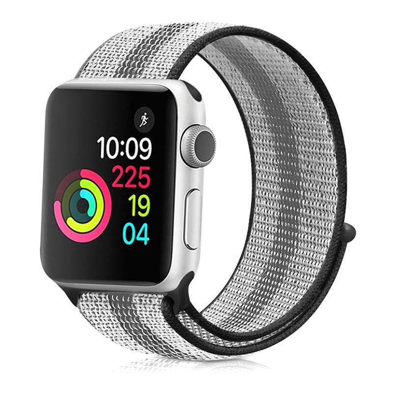 Для наручных часов Apple Watch, версии 3/2/1 38 мм 42 мм нейлон мягкий дышащий нейлон для наручных часов iWatch, сменный ремешок спортивный бесшовный series4/5 40 мм 44 мм - Цвет ремешка: stripe 7