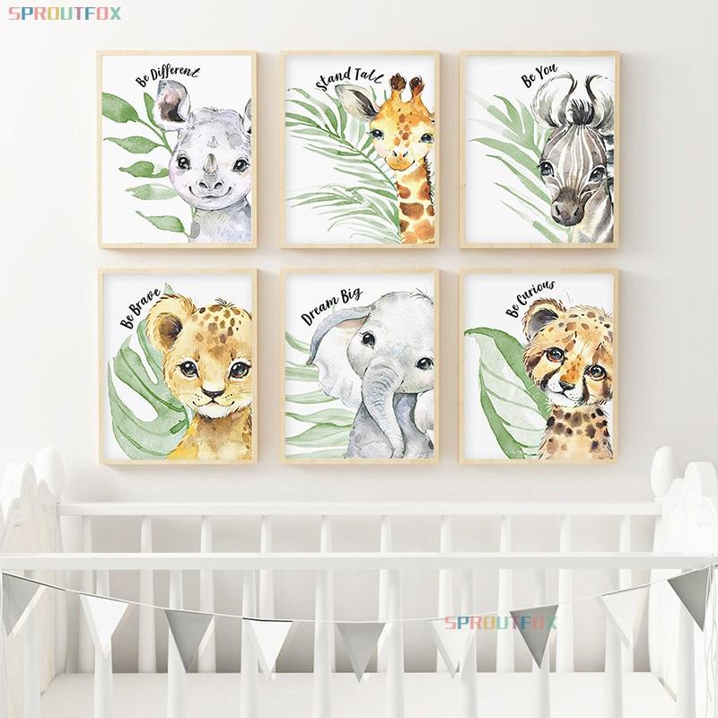 Животное в крупную клетку гостиная украшения детской комнаты Декоративные холст картины, настенные Декорации для детской комнаты, листы дл...