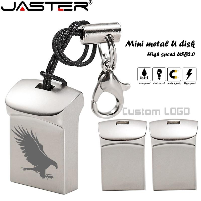 JASTER Mini Metal USB Flash Drive 4G 8G 16GB 32GB 64GB 128G Personalise Pen Drive USB Memory Stick U Disk Gift Custom Logo