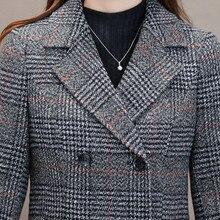 Зимние Для женщин шерстяное пальто повседневная куртка в клетку Тренч элегантный тонкий плотная верхняя одежда кардиган женское кашемировое пальто