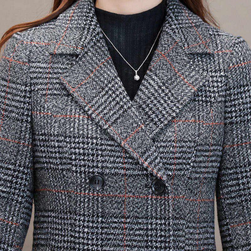 Hiver femmes laine mélanges veste décontracté Plaid Trench manteau élégant mince épais vêtements d'extérieur Cardigan femme cachemire pardessus 2019 nouveau