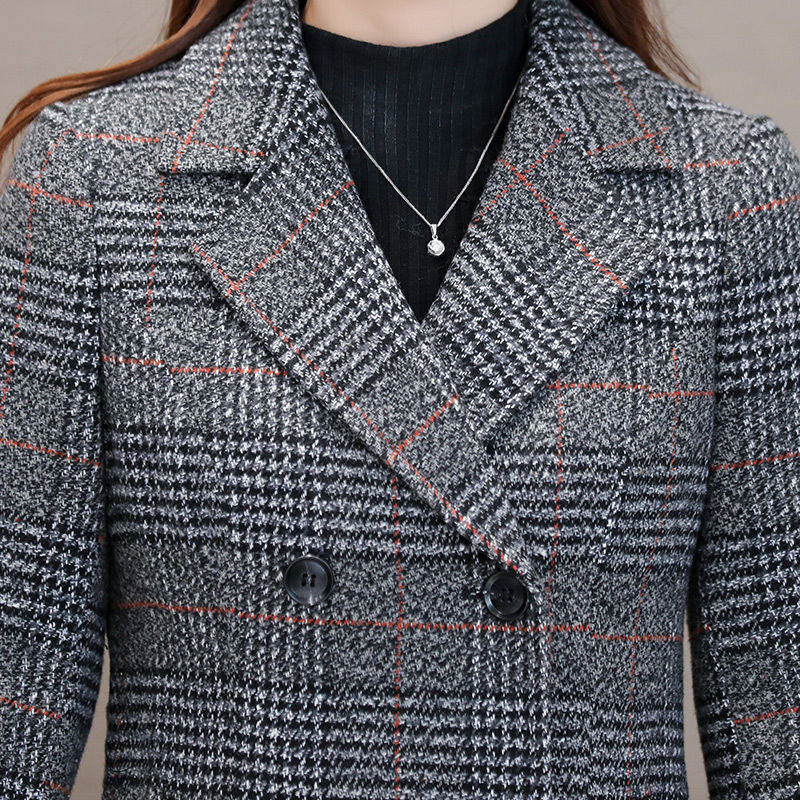 Winter Women Wool Blends Casual Jacket Plaid Trench Coat Elegant Slim Thick Outerwear Cardigan Female Cashmere Overcoat 2019 New