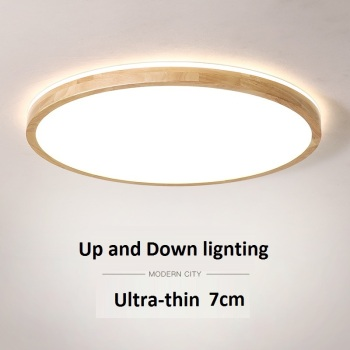 LukLoy NEW Up and Down Lighting Ceiling Lamp Bedroom Dinning Room Living Room Solid Wood Thickness 7CM Dimming Ceiling Lights