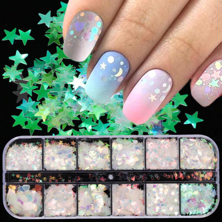 1Box Mermaid AB Kuku Glitter Spangles Bintang Jantung 3d Payet Hologram Berkilau Bubuk Kuku Seni Dekorasi Paillette LAHW-1-1