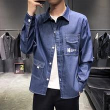 Casual Men Long Sleeve Shirt Trends Pattern Mens Shirts Double Pocket Autumn Black Blue Men Long Sleeve Shirt цены