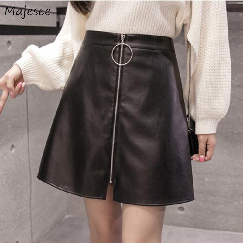Skirts Women Plus Size 2XL PU High Waist Black Office Lady Elegant Mini Skirt Womens Korean Style All-match Simple Harajuku Chic