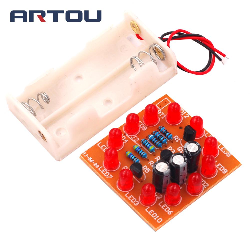 12 LED Cycle Light Production Kits Electronic Production Parts DIY Training Water Lamps