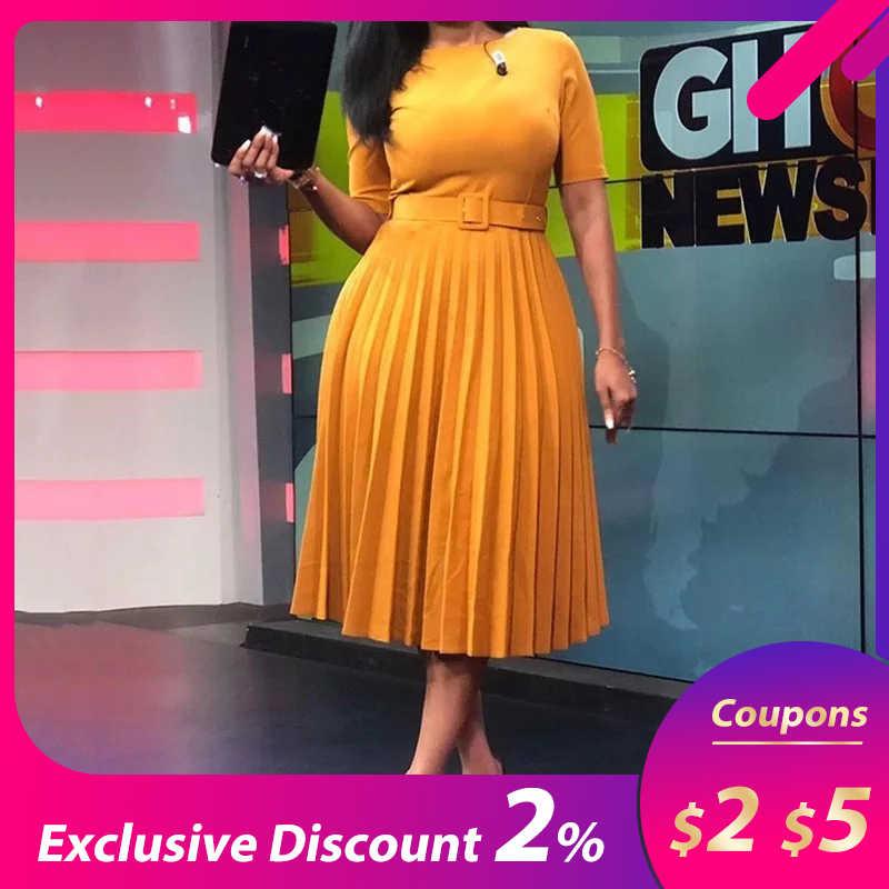 Женское повседневное элегантное плиссированное платье в африканском стиле с поясом, шикарное офисное платье трапециевидной формы с высокой талией 2019, осенне-зимняя мода