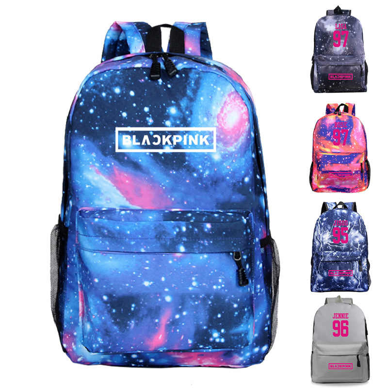 New Korean Fashion Kpop BLACKPINK Backpacks for Teenage Girls Harajuku Star Magic Black Pink Logo Shoulder Zipper Bag Schoolbags