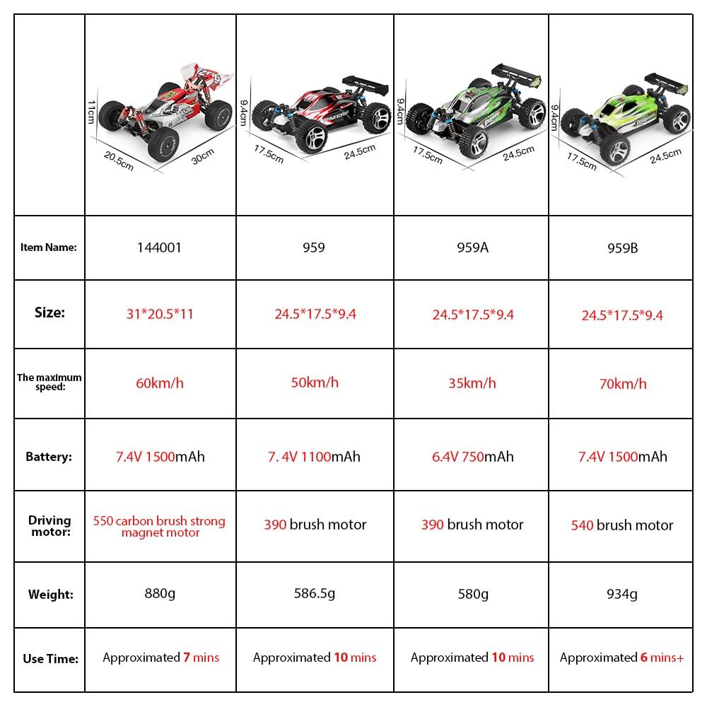 WLtoys 144001 959A 959B 2,4G гоночный RC автомобиль 70 км/ч 4WD Электрический высокоскоростной автомобиль внедорожник дрейф дистанционное управление игрушки для детей 2
