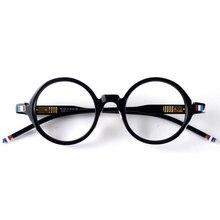 Japan round retro acetate glasses frame spectacles TB406 black designer style