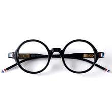 Japan runde retro acetat brille rahmen brille TB406 schwarz designer stil