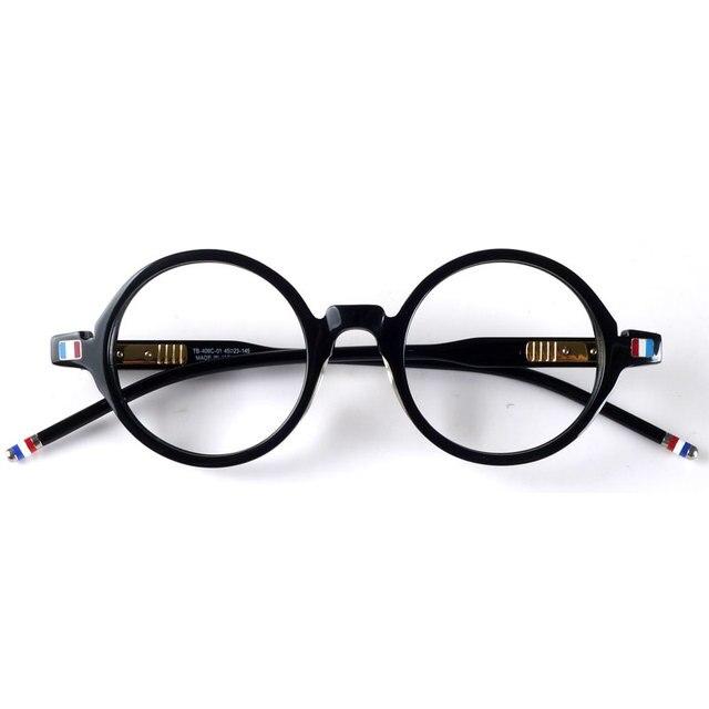 יפן עגול רטרו אצטט משקפיים מסגרת משקפיים TB406 שחור מעצב סגנון