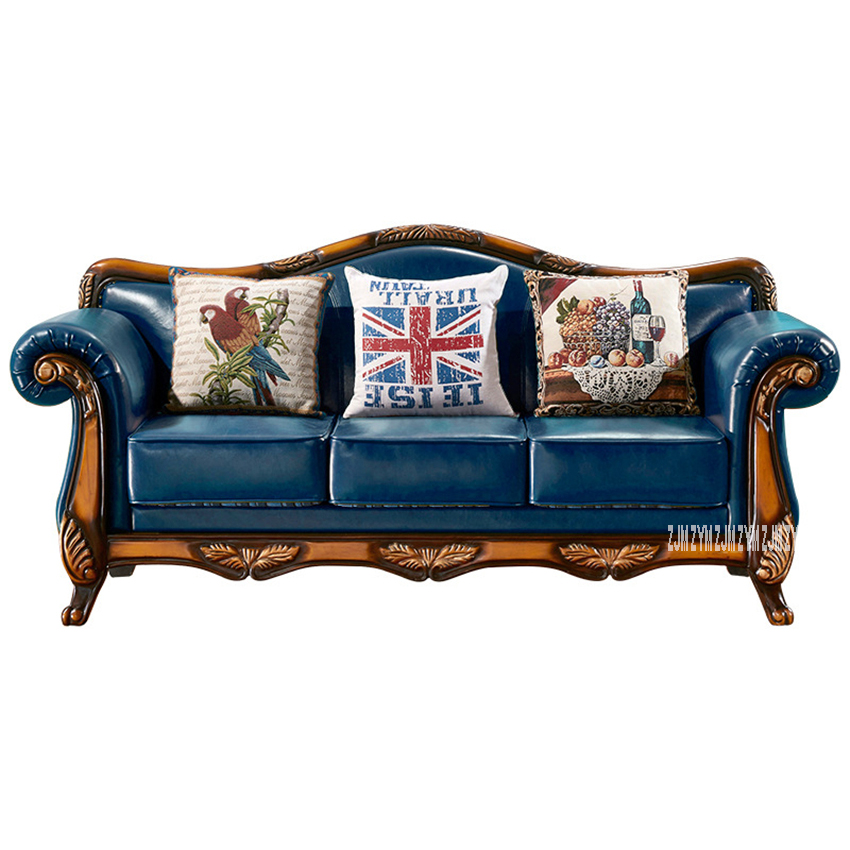 A110 European Style Oil Wax Sofa Combination Retro High Quality Leather Sofa Set Solid Wood Frame Wax Paper Modular Sofa Group image