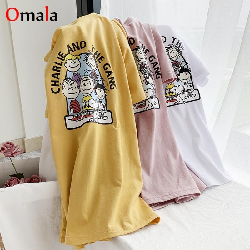New Summer Funny Cartoon T-shirts Women Korean Short Sleeve Loose T Shirt Harajuku Kawaii O-neck Tshirt 90s Girl Basic White Top