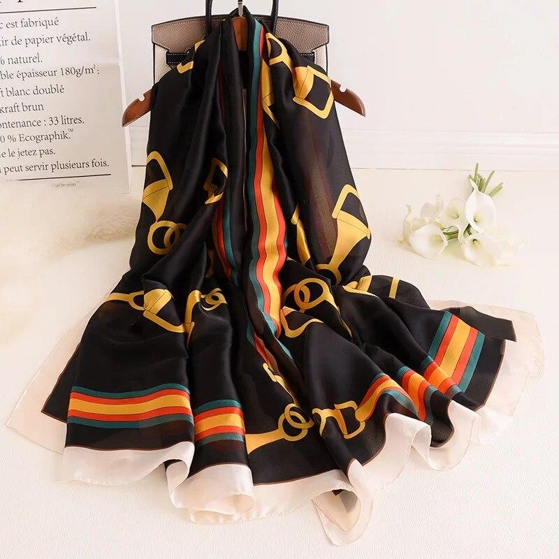 Marca de lujo verano otoño mujeres especialmente impreso lattice bufanda de seda de moda femenina bufandas chales Foulard Beach wraps hijab