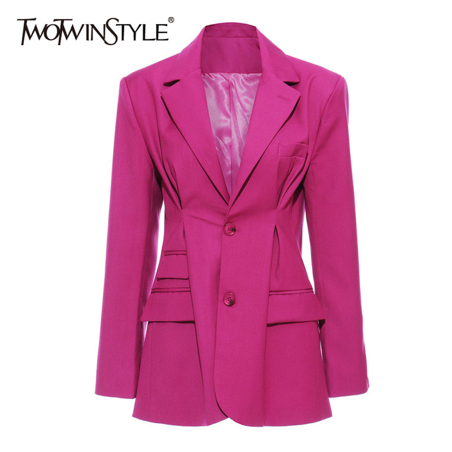TWOTWINSTYLE Elegant OL Style Blazer For Women Lapel Collar Long Sleeve Tunic Loose Ruched Suit Female Fashion Clothing 2020 New
