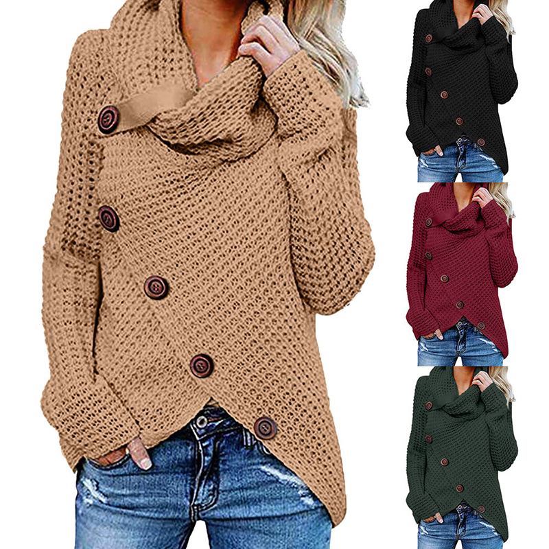Oversize Autumn Knitted Sweater Women Turtleneck Pullover Jumper Tops Solid Button Sweater Women Plus Size Ladies Clothes BDR993