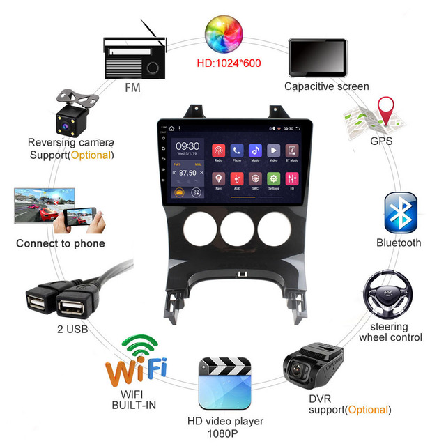 2 din android multimedia system video stereo For  Peugeot 3008 2009 2010 2011 2012 2013 2014 2015 Audio Radio GPS Quad Core