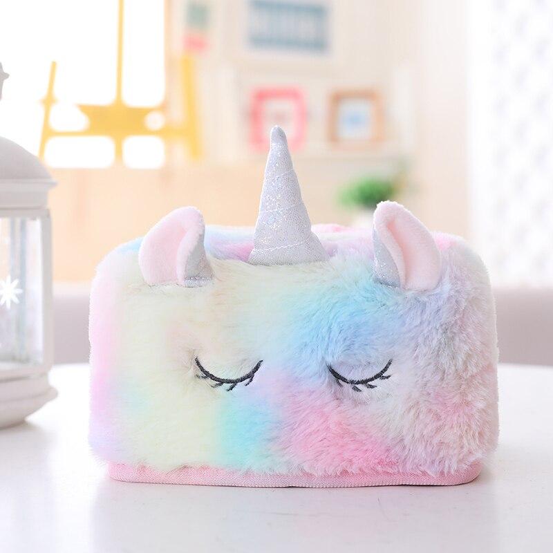 Cute Unicorn Soft Plush Tissue Bag Fluffy Napkin Contanier Rainbow Color Unicorn Tissue Box Home And Car Decoration As Gifts